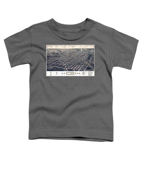 1880 Birds Eye Map Of Ann Arbor Toddler T-Shirt by Stephen Stookey