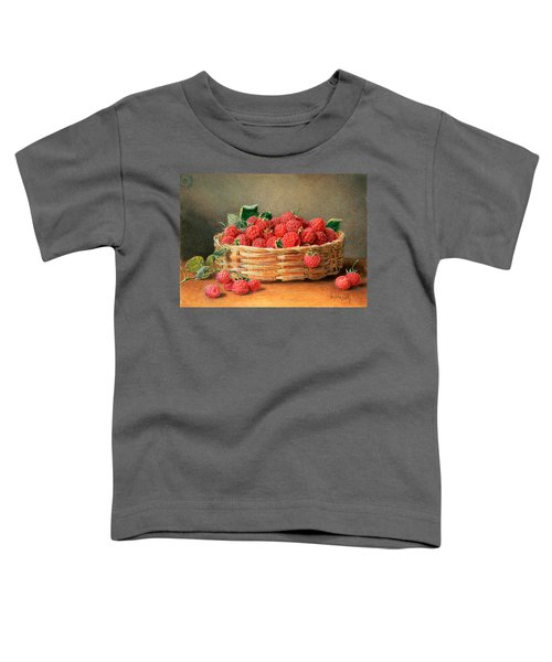 A Still Life Of Raspberries In A Wicker Basket  Toddler T-Shirt by William B Hough
