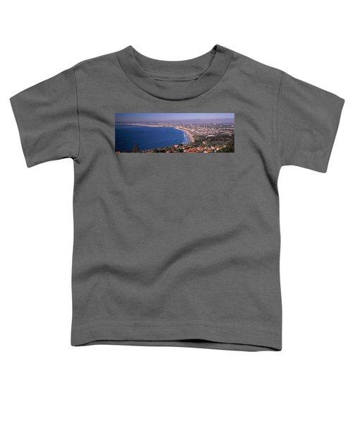 Aerial View Of A City At Coast, Santa Toddler T-Shirt by Panoramic Images