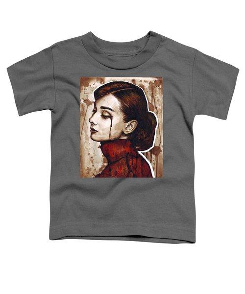 Audrey Hepburn Portrait Toddler T-Shirt by Olga Shvartsur