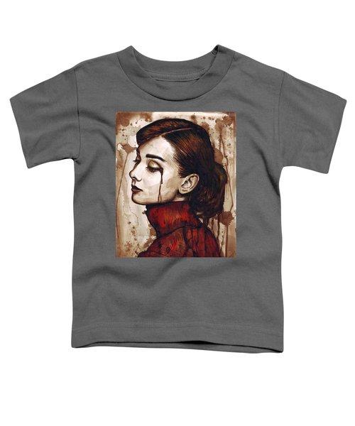 Audrey Hepburn - Quiet Sadness Toddler T-Shirt by Olga Shvartsur
