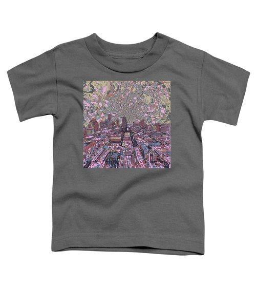 Austin Texas Vintage Panorama 2 Toddler T-Shirt by Bekim Art