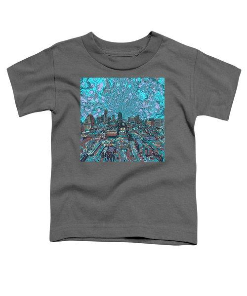Austin Texas Vintage Panorama 4 Toddler T-Shirt by Bekim Art