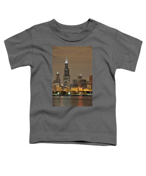 Chicago Skyline At Night Toddler T-Shirt by Sebastian Musial