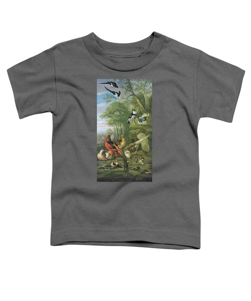 Cock Pheasant Hen Pheasant And Chicks And Other Birds In A Classical Landscape Toddler T-Shirt by Pieter Casteels