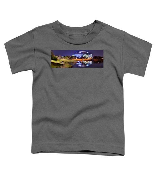 Dallas Cowboys Stadium At Night Att Arlington Texas Panoramic Photo Toddler T-Shirt by Jon Holiday