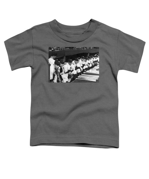 Dimaggio In Yankee Dugout Toddler T-Shirt by Underwood Archives