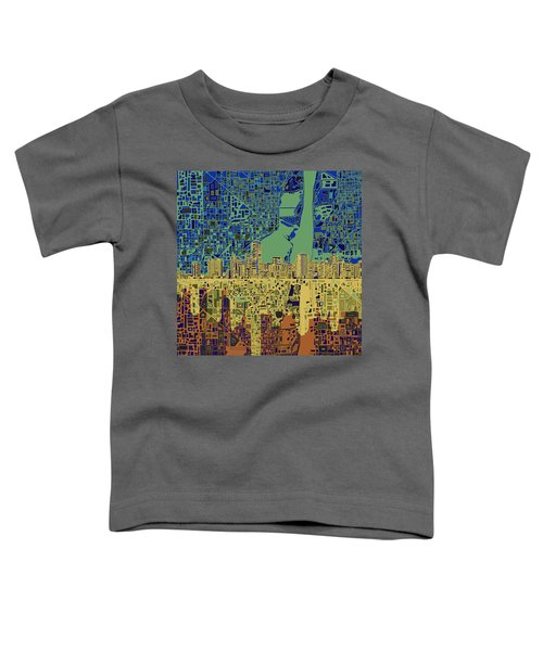 Miami Skyline Abstract 7 Toddler T-Shirt by Bekim Art