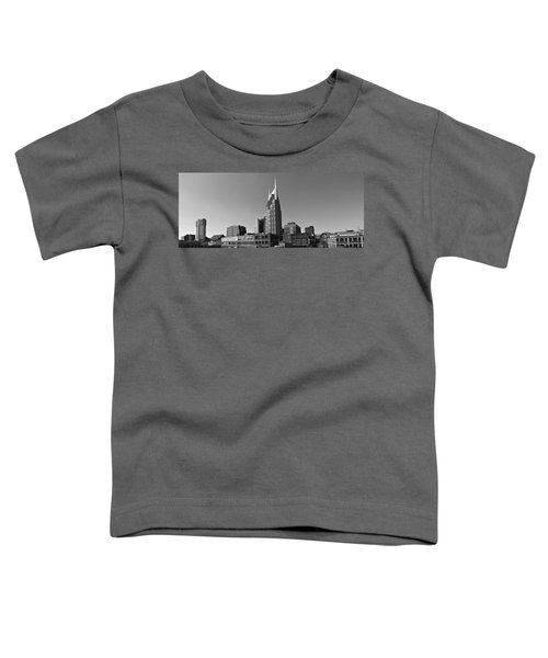 Nashville Tennessee Skyline Black And White Toddler T-Shirt by Dan Sproul