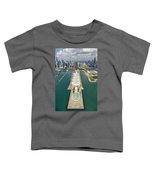 Navy Pier Chicago Aerial Toddler T-Shirt by Adam Romanowicz