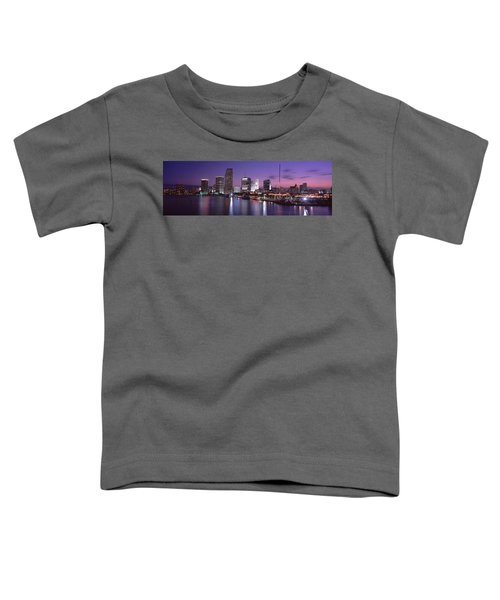 Night Skyline Miami Fl Usa Toddler T-Shirt by Panoramic Images