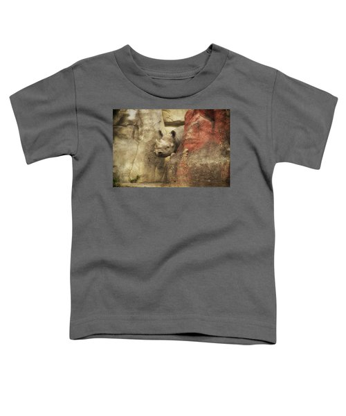 Peek A Boo Rhino Toddler T-Shirt by Thomas Woolworth