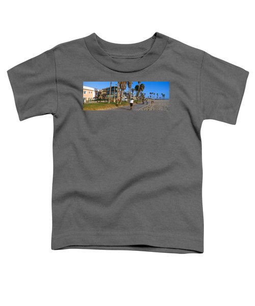 People Riding Bicycles Near A Beach Toddler T-Shirt by Panoramic Images