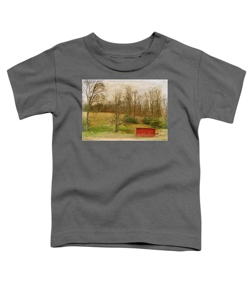 Red Shed Toddler T-Shirt by Paulette B Wright