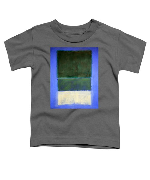 Rothko's No. 14 -- White And Greens In Blue Toddler T-Shirt by Cora Wandel