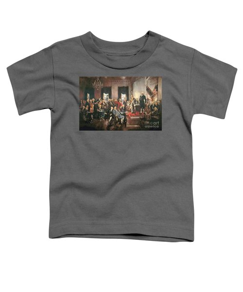 The Signing Of The Constitution Of The United States In 1787 Toddler T-Shirt by Howard Chandler Christy