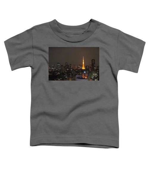 Tokyo Skyline At Night With Tokyo Tower Toddler T-Shirt by Jeff at JSJ Photography