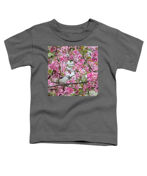 Tufted Titmouse In A Pear Tree Square Toddler T-Shirt by Bill Wakeley