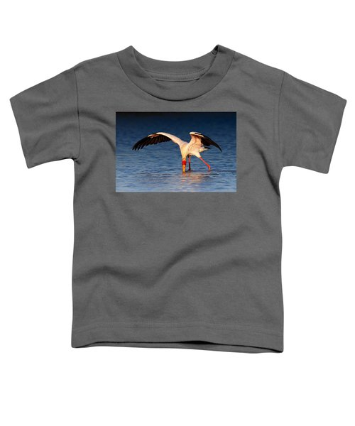 Yellow-billed Stork Hunting For Food Toddler T-Shirt by Johan Swanepoel