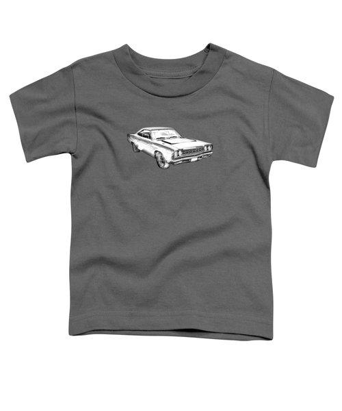 1968 Plymouth Roadrunner Muscle Car Illustration Toddler T-Shirt by Keith Webber Jr