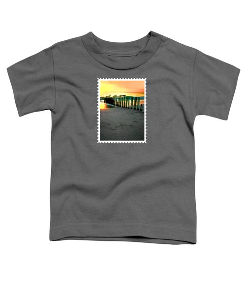 Sea Gulls On Pilings  At Sunset Toddler T-Shirt by Elaine Plesser