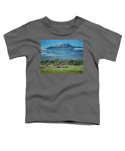 African Giants At Mount Kilimanjaro, Original Oil Painting 48x60 In On Gallery Canvas Toddler T-Shirt by Manuel Lopez