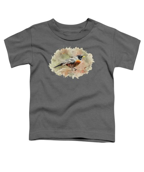 American Robin - Watercolor Art Toddler T-Shirt by Christina Rollo