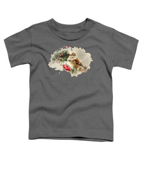 American Tree Sparrow Watercolor Art Toddler T-Shirt by Christina Rollo