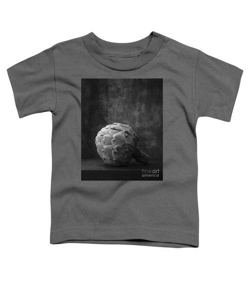 Artichoke Black And White Still Life Toddler T-Shirt by Edward Fielding