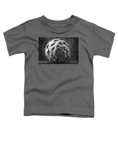 Artichoke Black And White Still Life Two Toddler T-Shirt by Edward Fielding
