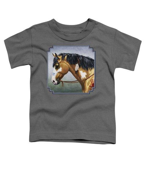 Buckskin Native American War Horse Toddler T-Shirt by Crista Forest