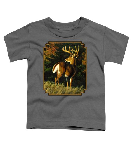 Whitetail Buck - Indecision Toddler T-Shirt by Crista Forest