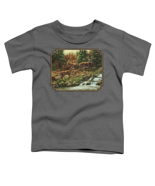Whitetail Deer - Follow Me Toddler T-Shirt by Crista Forest
