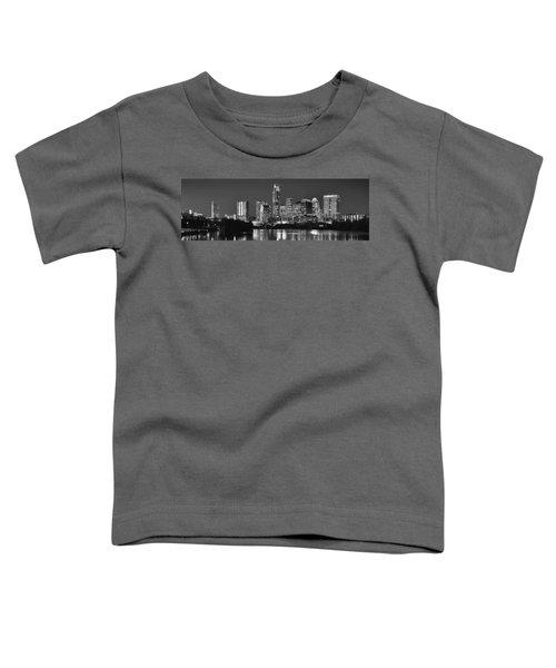 Austin Skyline At Night Black And White Bw Panorama Texas Toddler T-Shirt by Jon Holiday
