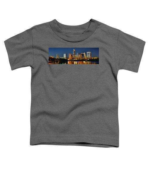 Austin Skyline At Night Color Panorama Texas Toddler T-Shirt by Jon Holiday