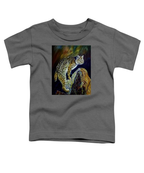 Bobcat At Sunset Original Oil Painting 16x20x1 Inch On Gallery Canvas Toddler T-Shirt by Manuel Lopez