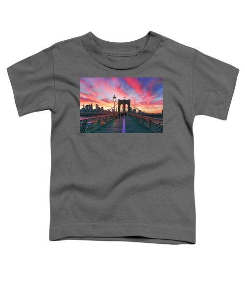 Brooklyn Sunset Toddler T-Shirt by Rick Berk