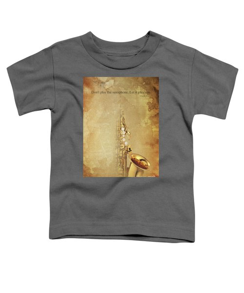 Charlie Parker Saxophone Brown Vintage Poster And Quote, Gift For Musicians Toddler T-Shirt by Pablo Franchi