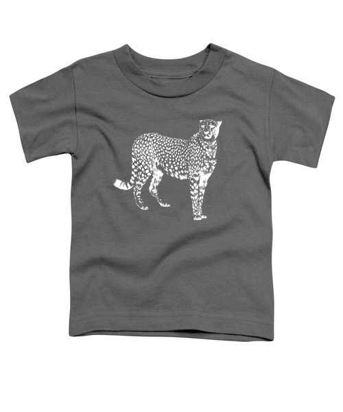 Cheetah Cut Out White Toddler T-Shirt by Greg Noblin