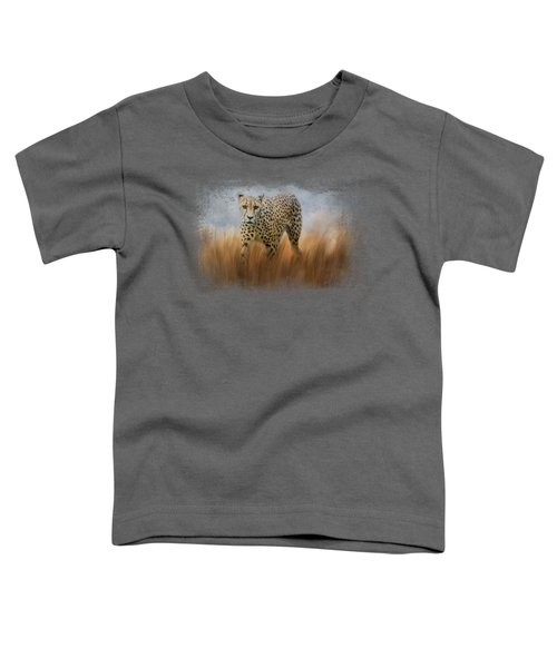 Cheetah In The Field Toddler T-Shirt by Jai Johnson