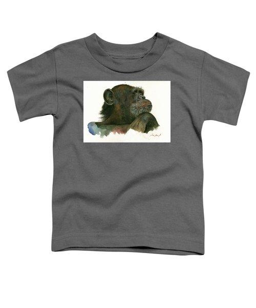 Chimp Portrait Toddler T-Shirt by Juan Bosco