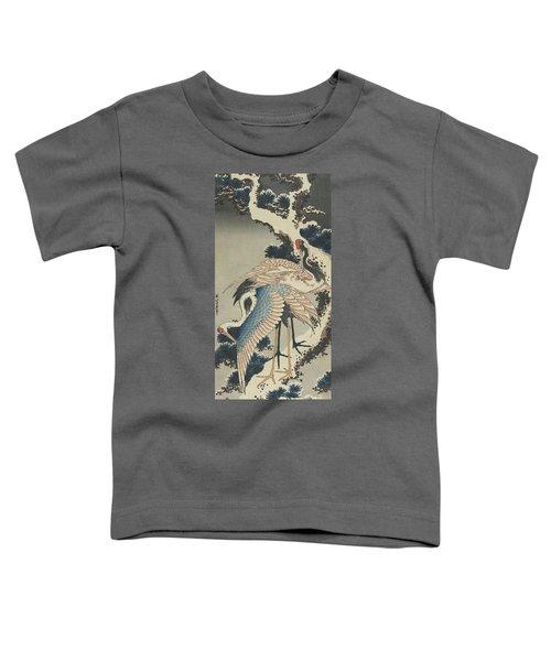 Cranes On Pine Toddler T-Shirt by Hokusai