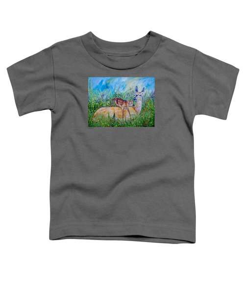 Deer Mom And Babe 24x18x1 Oil On Gallery Canvas Toddler T-Shirt by Manuel Lopez