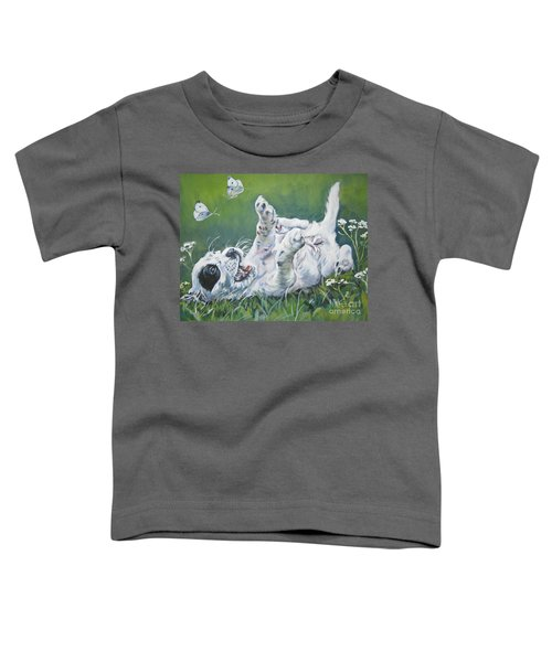 English Setter Puppy And Butterflies Toddler T-Shirt by Lee Ann Shepard