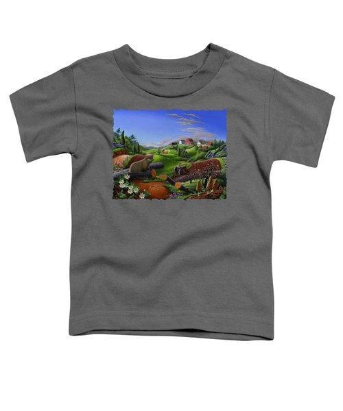 Farm Folk Art - Groundhog Spring Appalachia Landscape - Rural Country Americana - Woodchuck Toddler T-Shirt by Walt Curlee