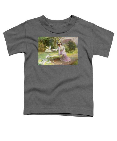 Feeding The Doves  Toddler T-Shirt by Edmond Alphonse Defonte
