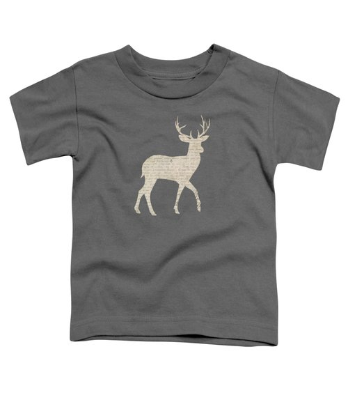 French Script Stag Toddler T-Shirt by Amanda  Lakey
