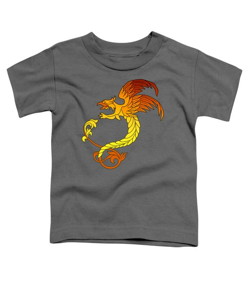 Griffin Griffon Gryphon In Flaming Colours Toddler T-Shirt by Heidi De Leeuw