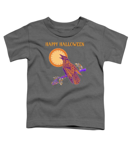 Halloween Crow And Moon Toddler T-Shirt by Tammy Wetzel