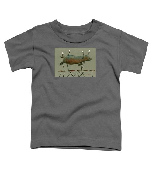 Happy Hippo Swimming Toddler T-Shirt by Juan  Bosco